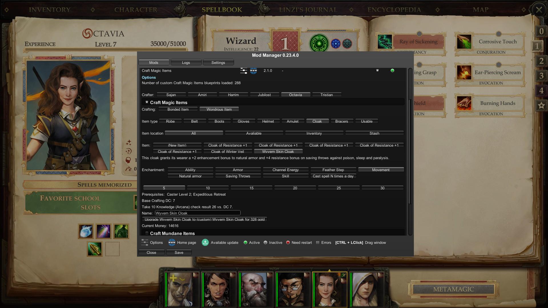 Craft Magic Items mod menu