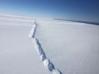 The A-68 iceberg separated from the Larsen C ice shelf in July 2017.