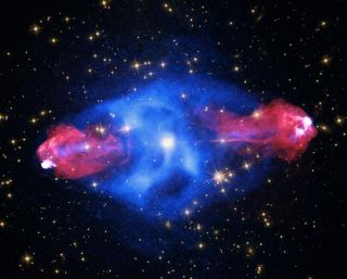 """The galaxy Cygnus A, which played a prominent role in Carl Sagan's 1985 novel """"Contact,"""" is shown here in multiple wavelengths, including X-ray, radio and visible. A new study looks at the powerful magnetic fields produced by jets spewing out of the monst"""
