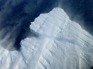 Pine Island glacier with snow