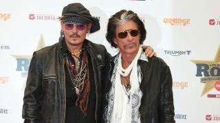 A picture of Johny Depp and Joe Perry arriving for the Classic Rock Roll Of Honour in Tokyo