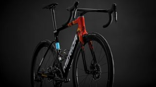 The new Merida Scultura stands at an angle, showing the front and side of the bike