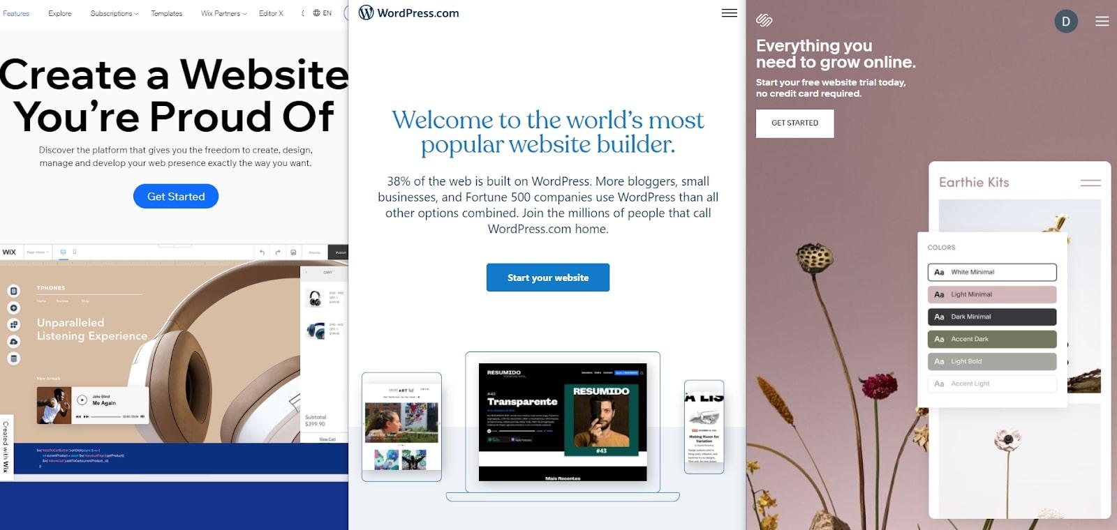 Pages d'accueil WordPress vs Wix vs Squarespace