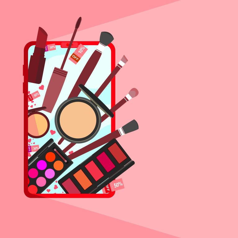 A vector banner of cosmetic online store on mobile phone.