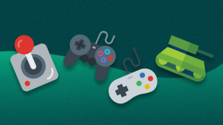Icons of a joystick, controllers and a tank