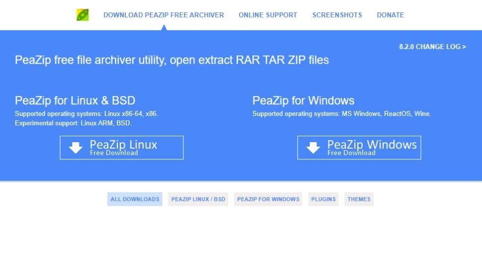 Website screenshot for PeaZip