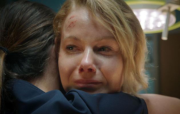 Holby City Chloe Ange hug