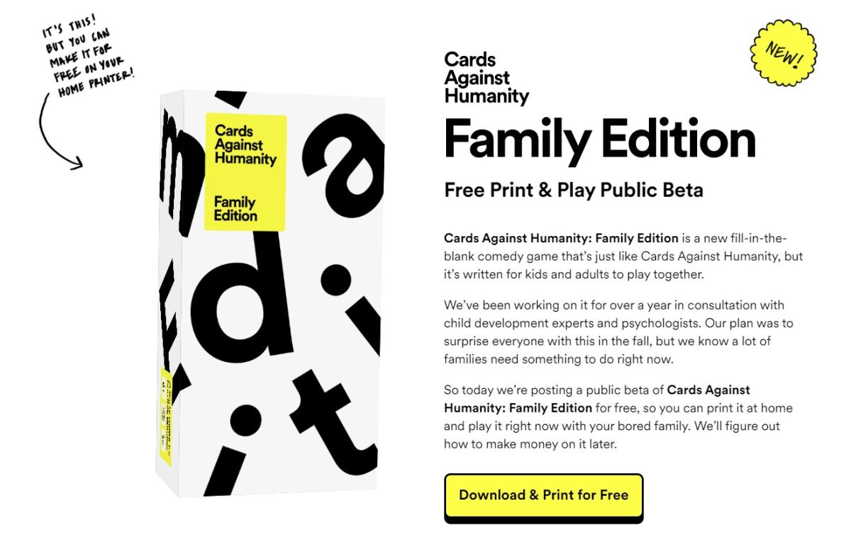 Cards Against Humanity Family Edition is here: How to get it for free