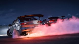 Screenshot of Forza Horizon 5 showing two cars with smoking tyres