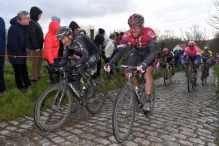 Gianni Moscon and Ian Stannard (Ineos) in action at Omloop Het Nieuwsblad.