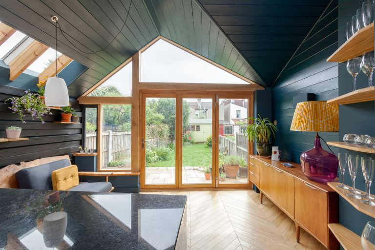 A timber frame extension: A view towards the bifold doors and garden