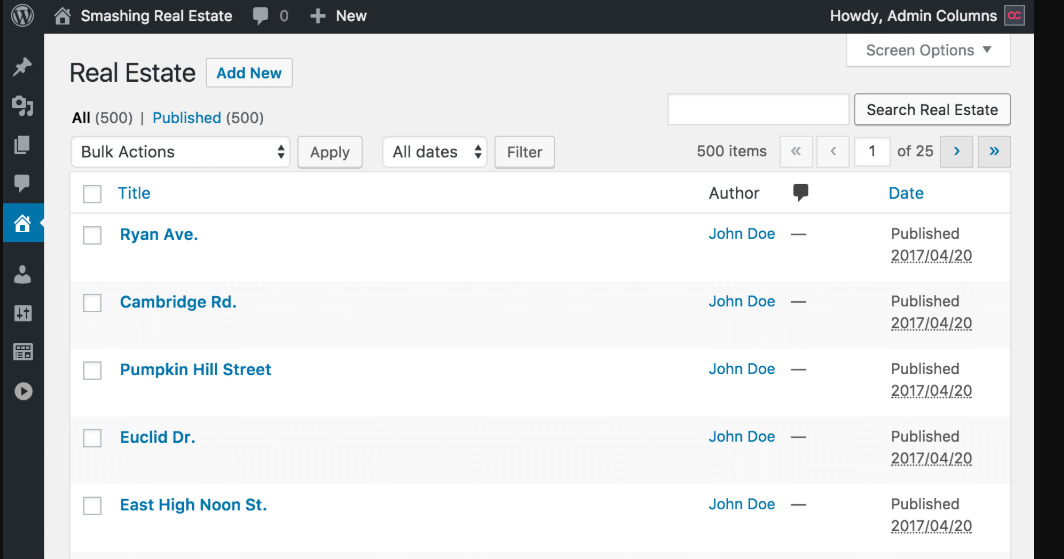 WordPress tutorials:  Customise Admin Columns in WordPress
