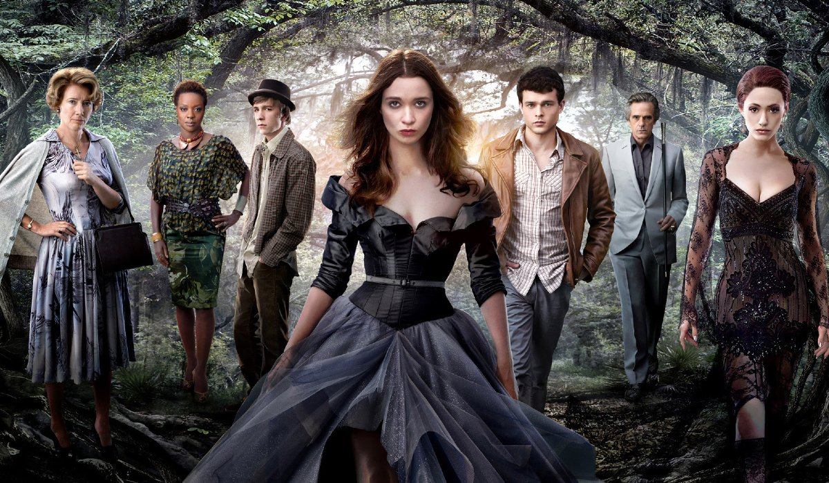 Beautiful Creatures cast lined up in a gothic looking forest