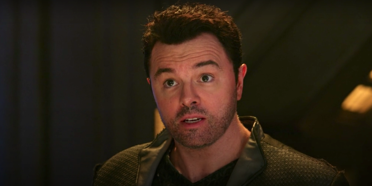 seth macfarlane's ed talking to kelly in the orville season 2