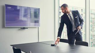 Man in boardroom