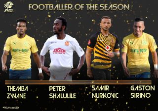 Themba Zwane, Peter Shalulile, Samir Nurkovic and Gaston Sirino