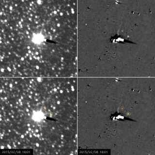 NASA's New Horizons probe captured these views of the Pluto moons Nix (yellow diamond) and Hydra (orange diamond) between Jan. 27 and Feb. 8, 2015. Pluto and its largest moon, Charon, are the fuzzy white blob in the images' center. Right-hand images have