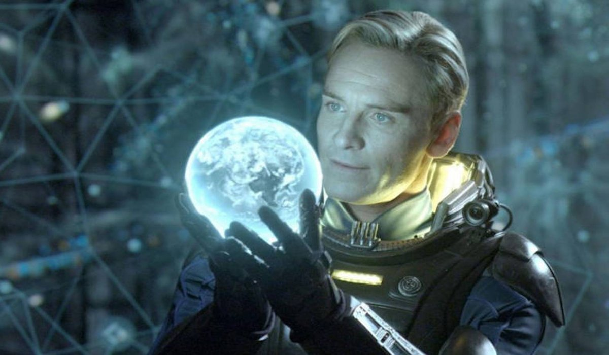 Prometheus Michael Fassbender holds the world in his hands