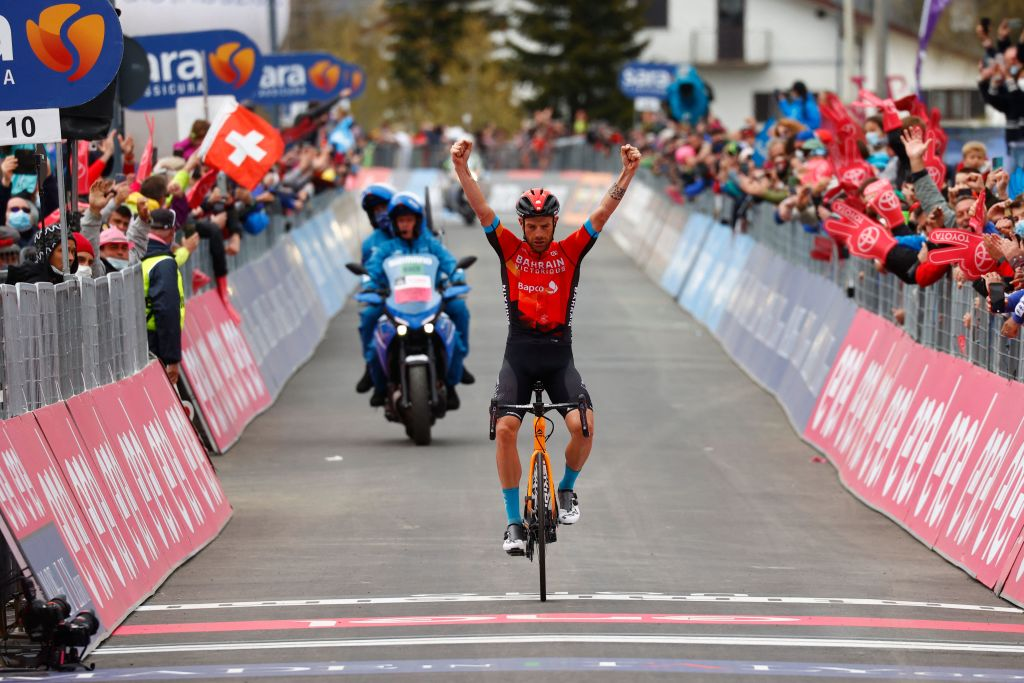Damiano Caruso (Bahrain Victorious) won stage 20 of the 2021 Giro d'Italia
