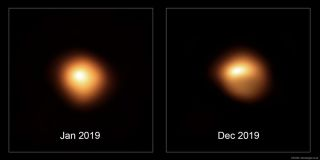 An image captured by the European Southern Observatory's Very Large Telescope in Chile shows Betelgeuse in December 2019, at right, early in what would become the dramatic dimming episode that culminated in February 2020.