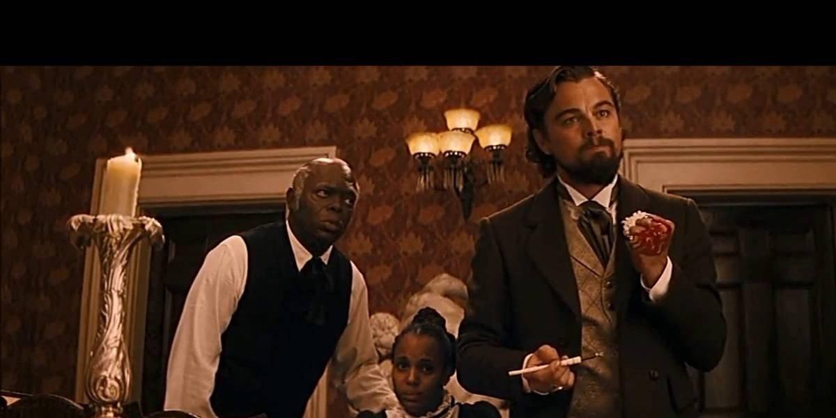 Leonardo DiCaprio with a simpering Samuel L. Jackson