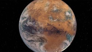 An artist's rendering of what Mars would have looked like with its ancient oceans and lakes intact