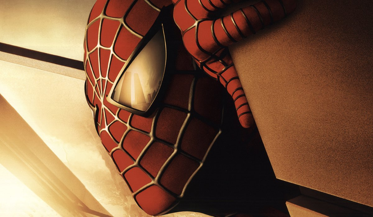 Spider-Man 2002 Teaser Poster with Spidey on a building