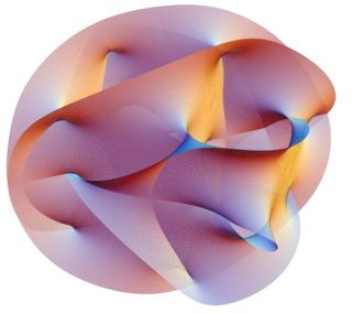 Visualization of a Calabi-Yau manifold, a structure representing the 6 dimensions of space-time that are curled up, according to string theory.