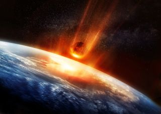 A large Meteor burning and glowing as it hits the earth's atmosphere. 3D illustration.