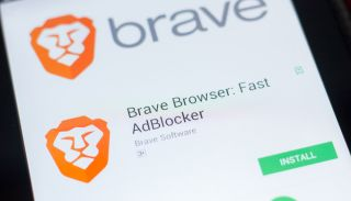 A close-up of the Brave browser listing in the Google Play app store displayed on an Android smartphone.