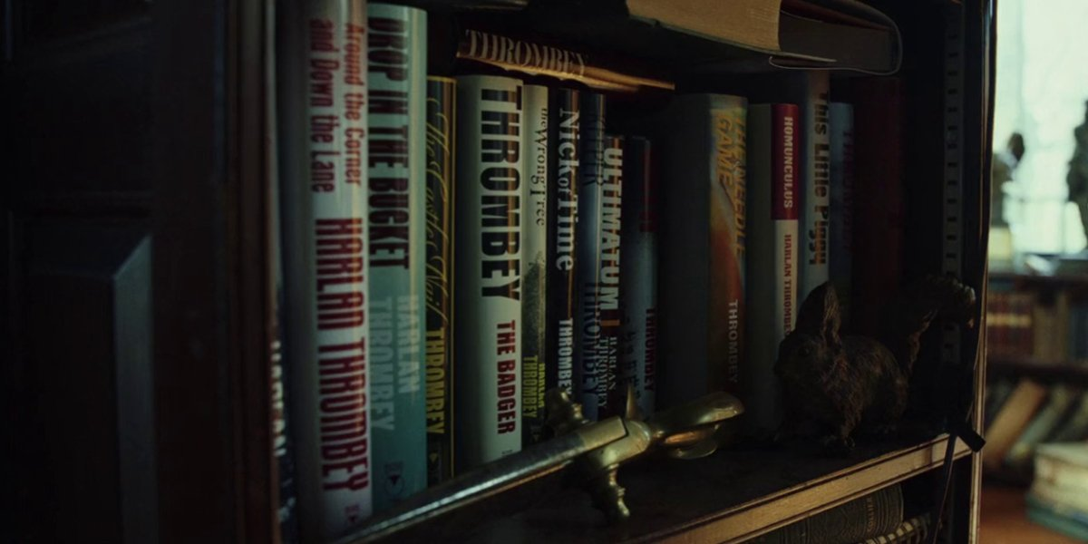 Books by Harlan Thrombey, Christopher Plummer's character in Knives Out
