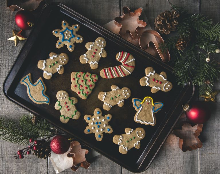 christmas cookies on baking sheet