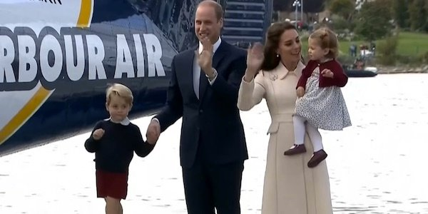 The royal family waving