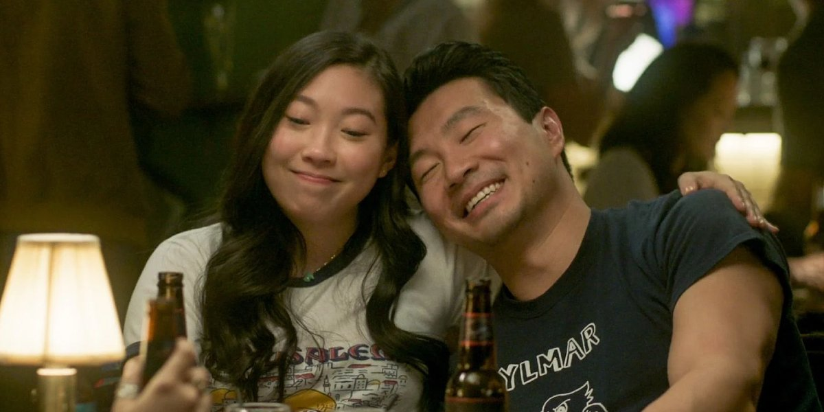 Awkwafina and Simu Liu in Shang-Chi And The Legend Of The Ten Rings