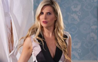 Mandy cracks in front of the social worker in Hollyoaks