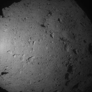 The asteroid Ryugu, as seen by Japan's Hayabusa2 spacecraft during its sample-grabbing descent on July 10, 2019.