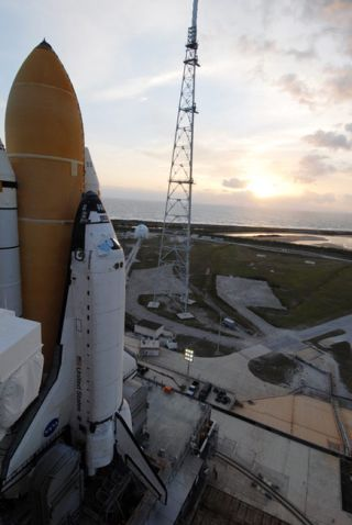 Rescue Ship For Hubble Shuttle Flight Moves to Launch Pad