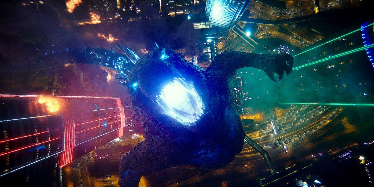 Godzilla preparing to fire atomic breath in Godzilla vs. Kong