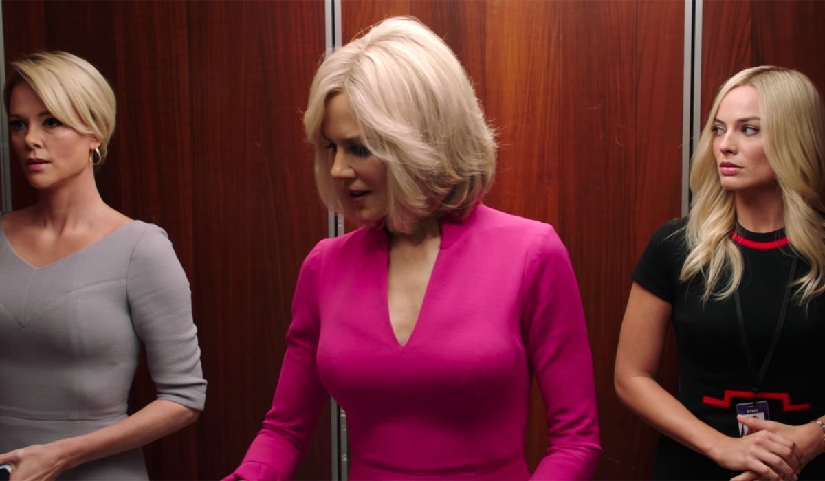 Bombshell Charlize Theron Nicole Kidman Margot Robbie standing in an elevator
