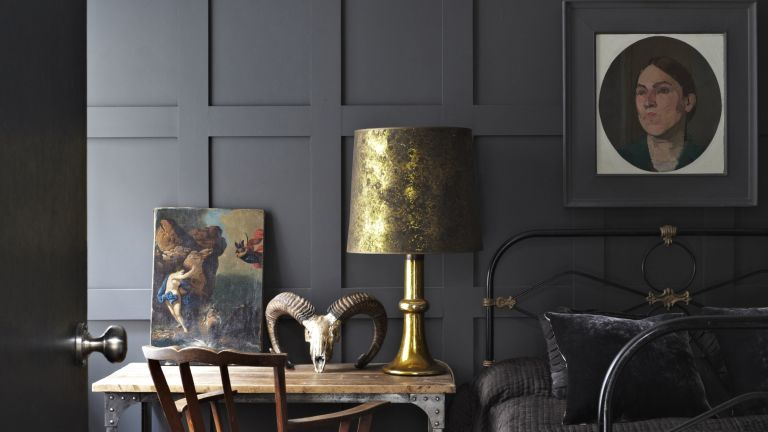 Railings by Farrow & Ball in a dark academia style bedroom