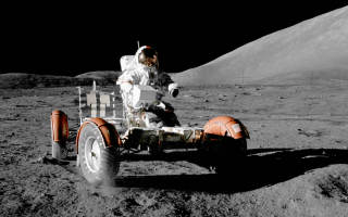 Apollo 17 Astronaut Eugene Cernan drives the Lunar Roving Vehicle across the moon's surface in December 1973. Thirteen months later, the moonquake hit.