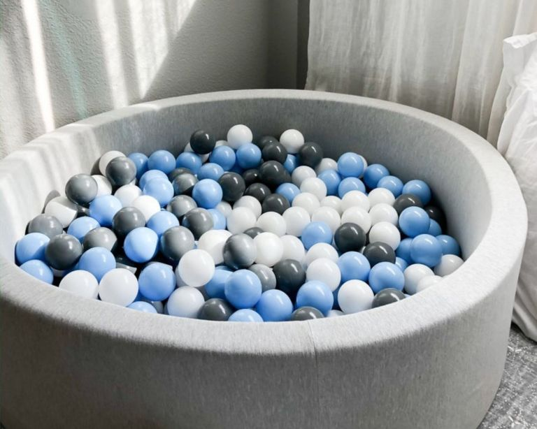 Soft play equipment from whatkidslovethemost – grey ball pit with blue, grey and white balls inside