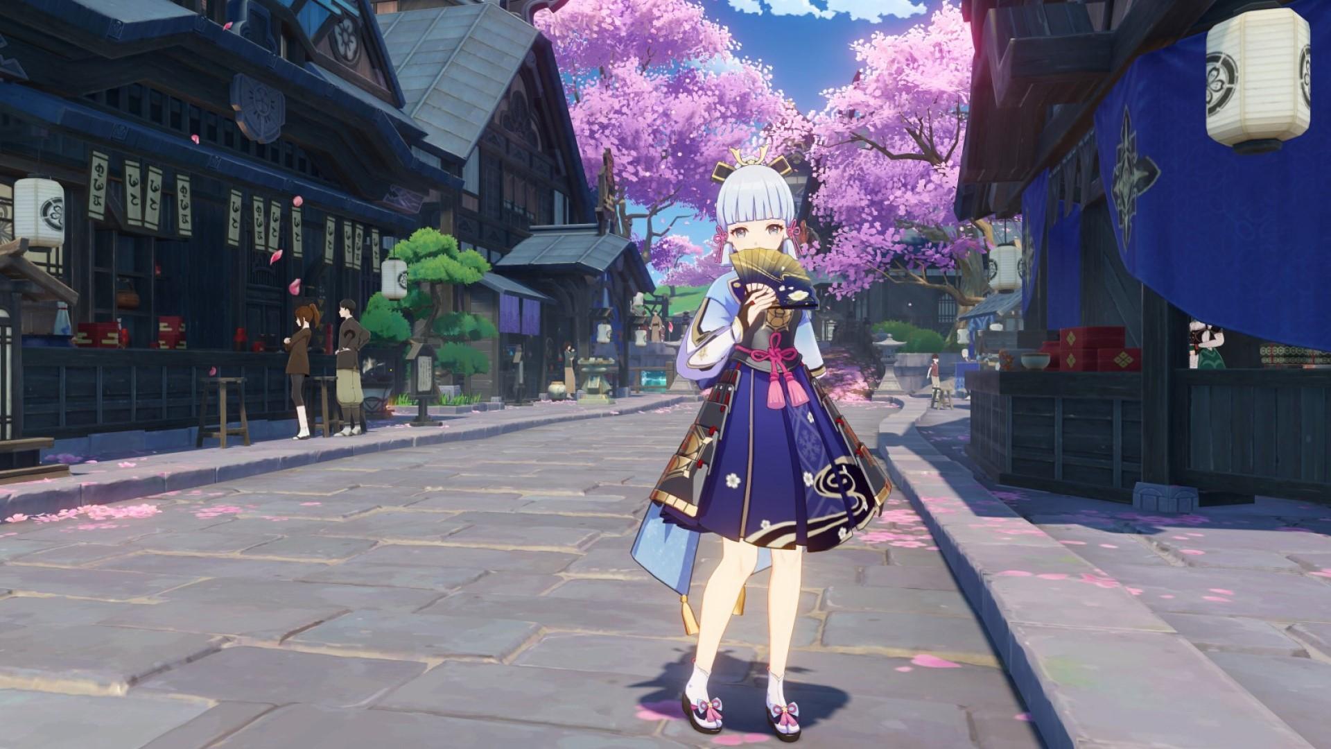 Genshin Impact character, Ayaka, unfurls a fan, standing in the street of Inazuma city