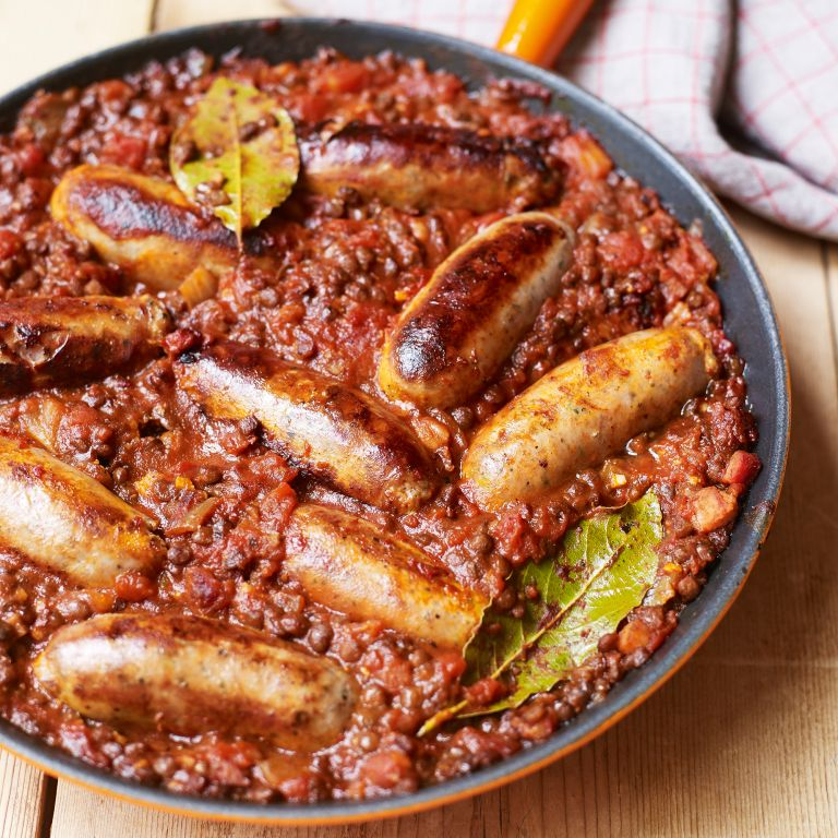 toulouse sausages and lentils