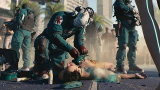 The Trauma Team of paramilitary EMTs tends to a client in Cyberpunk 2077.
