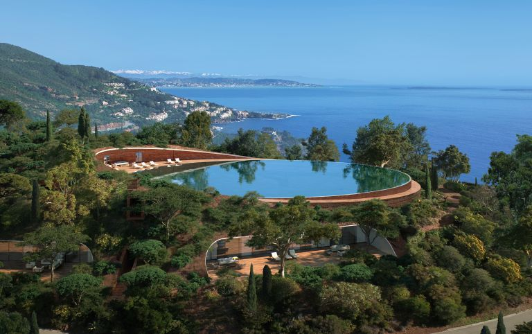 Swimming pool of house in South of France, one of the world's most expensive homes