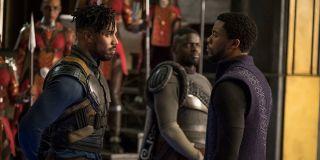 Michael B. Jordan as Erik Killmonger and Chadwick Boseman as T'Challa in Black Panther (2018)