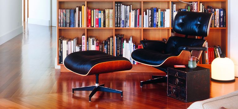 Eames lounge chair in black leather