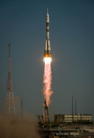 The Soyuz rocket with Expedition 33/34 crew members, Soyuz Commander Oleg Novitskiy, Flight Engineer Kevin Ford of NASA, and Flight Engineer Evgeny Tarelkin of ROSCOSMOS onboard the TMA-06M spacecraft launches to the International Space Station on Tuesday