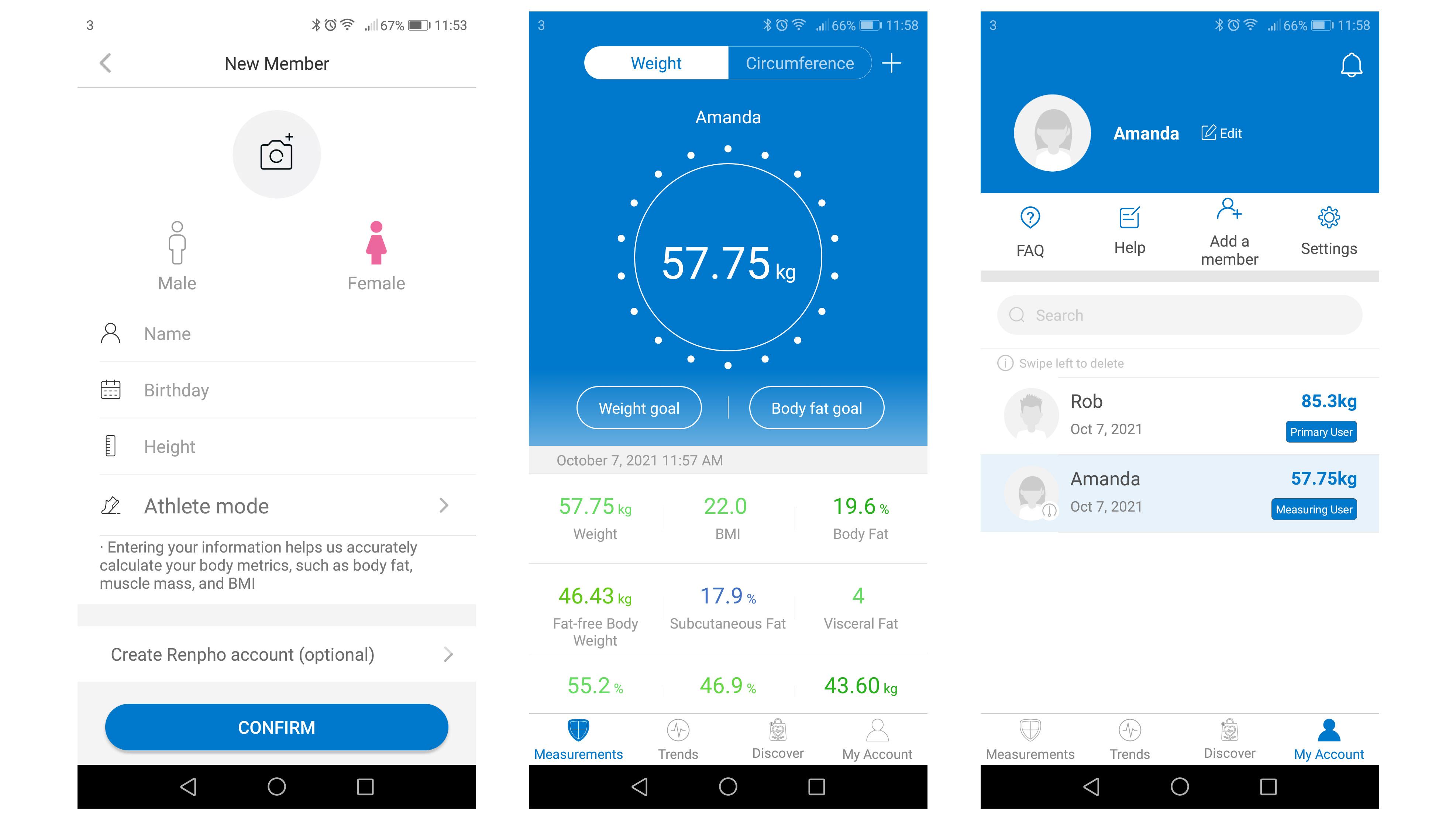 Renpho Smart Body Fat Scale results in mobile app